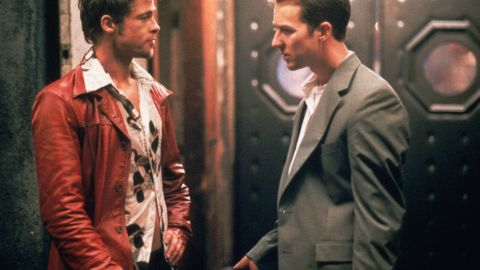 """Just who is the destructive Tyler Durden (Brad Pitt, left), and why does he keep tormenting Edward Norton's unnamed narrator in<strong> </strong>""""Fight Club"""" (1999)? Well, there's a reason only Norton's character can see Durden: He exists only in the narrator's troubled mind."""