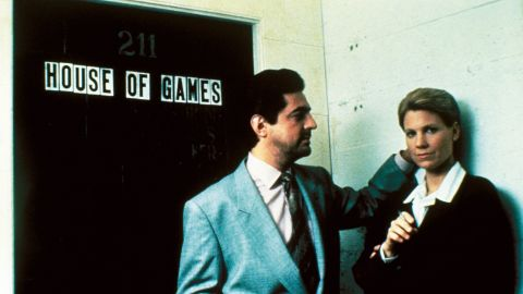 """Psychiatrist Margaret Ford (Lindsay Crouse) gets sucked into an underworld of con men led by Mike (Joe Mantegna) in<strong> </strong>""""House of Games"""" (1987). She thinks she's studying them, but as the old poker-table saying goes, if you don't know who the sucker is, you're the sucker. David Mamet, then Crouse's husband, wrote and directed."""