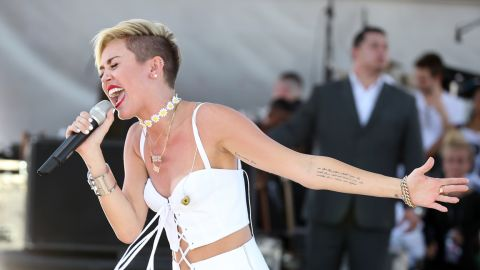 Cyrus performs onstage during the iHeart Radio Music Festival Village in Las Vegas, on September 21.
