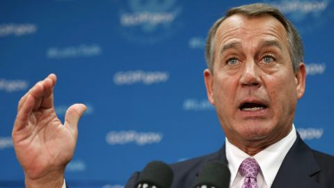 Speaker of the House John Boehner (R-OH) answers reporters' questions during a news conference after a House Republican caucus meeting at the U.S. Capitol October 4, 2013 in Washington, DC. 'This isn't some damn game,' Boehner said about the current federal government shutdown. (Photo by Chip Somodevilla/Getty Images)
