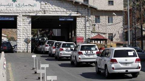 A convoy of inspectors from the Organization for the Prohibition of Chemical Weapons prepares cross into Syria at the Lebanese border crossing point of Masnaa on Tuesday, October 1. Inspectors from the Netherlands-based watchdog arrived in Syria on Tuesday to begin their complex mission of finding, dismantling and ultimately destroying Syria's chemical weapons arsenal.