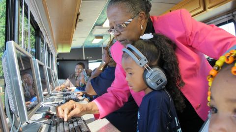 """<a href=""""http://www.cnn.com/SPECIALS/cnn.heroes/2013.heroes/estella.pyfrom.html"""">Estella Pyfrom</a> used her life savings to create """"Estella's Brilliant Bus,"""" a mobile computer lab that provides tutoring for thousands of low-income students in Palm Beach County, Florida. """"It's not just a bus, it's a movement,"""" Pyfrom said. """"And we're going to keep making a difference."""""""