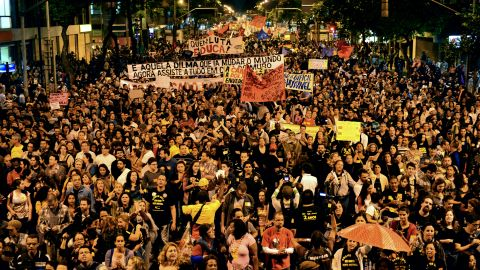 Thousands of people took part in a protest in Rio on October 7, 2013, when Brazilian teachers demanded better working conditions and others demonstrated against alleged police brutality.