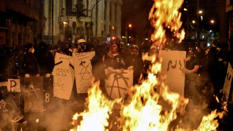 Fires raged outside Rio's City Hall as demonstrators burned trash during the October protests.
