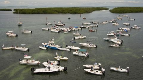 Boaters gather to protest the closure of Everglades National Park waters on October 9 near Islamorada, Florida. About a third of the 2,380-square-mile park encompasses Florida Bay and has been closed to Florida Keys guides and recreational fishermen since October 1.