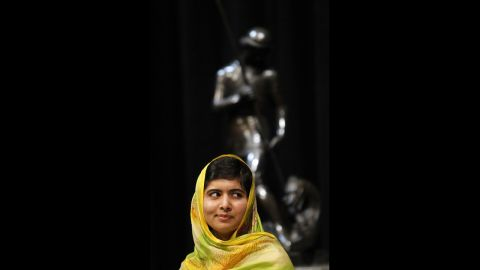 Malala receives the 25th International Prize of Catalonia in July 2013 in Barcelona, Spain. The award recognizes those who have contributed to the development of cultural, scientific and human values around the world.