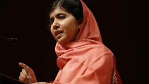 Malala addresses students and faculty of Harvard University in Cambridge, Massachusetts, after receiving the Peter J. Gomes Humanitarian Award in September 2013.