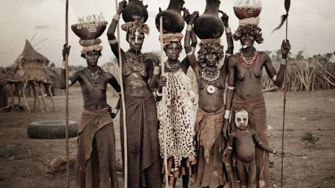 The Dassanech in Ethiopia, pictured, will allow anyone to be one of them, as long as they agree to be circumcised, Nelson explains.