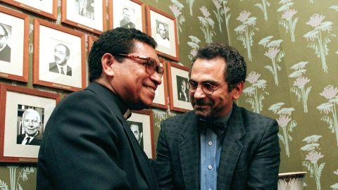 Bishop Carlos Filipe Ximenes Belo, left, and Jose Ramos-Horta shake hands at the Norwegian Nobel Institute in Oslo on December 9,1996, prior to the awarding ceremony. Belo and Ramos-Horta won the Nobel Peace Prize in 1996.
