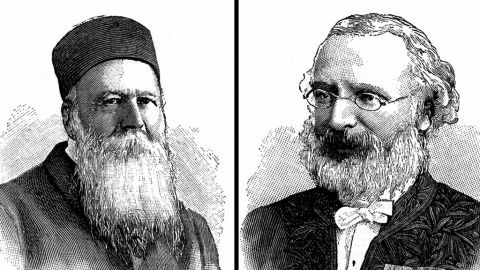 The first Nobel Peace Prize in 1901 was awarded jointly to Swiss activist Jean Henry Dunant, left, and French economist Frederic Passy.