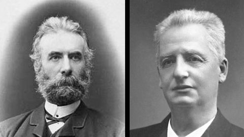 Danish writer and politician Fredrik Bajer, left, and Swedish author and politician Klas Pontus Arnoldson won the Nobel Peace Prize in 1908.