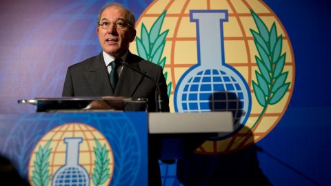 """Ahmet Uzumcu, director-general of the <a href=""""http://www.opcw.org/"""" target=""""_blank"""" target=""""_blank"""">Organisation for the Prohibition of Chemical Weapons</a>, speaks after his chemical watchdog group was awarded the Nobel Peace Prize in 2013. The Hague, Netherlands-based organization received the prize for helping to eliminate the <a href=""""http://www.cnn.com/2013/10/11/world/europe/norway-nobel-peace-prize-opcw-syria/index.html"""">Syrian army's stockpiles of poison gas</a> as well as for its longtime efforts to eliminate chemical weapons."""
