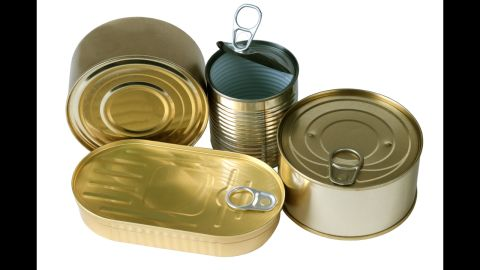 """<strong>Canned food: </strong>BPA epoxy resins can leach into your food from the lining of metal food cans. In <a href=""""http://www.cdc.gov/biomonitoring/BisphenolA_FactSheet.html"""" target=""""_blank"""" target=""""_blank"""">one CDC study</a>, researchers found traces of BPA in the urine of nearly all 2,517 participants."""