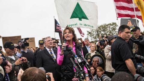 Former Alaska Gov. Sarah Palin speaks at a rally Sunday regarding the government shutdown.