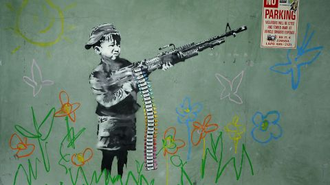 """""""The Crayola Shooter"""" is found in Los Angeles in 2011. It shows a child wielding a machine gun and using crayons for bullets."""