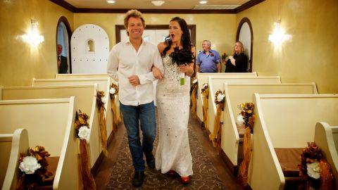 "<a href=""http://bonjoviwalkmedowntheaisle.com/"" target=""_blank"" target=""_blank"">After an online effort to make it happen, </a>Jon Bon Jovi walked Australian bride-to-be Branka Delic down the aisle before her wedding to Gonzalo Cladera at the Graceland Wedding Chapel in Las Vegas on October 12, 2013."