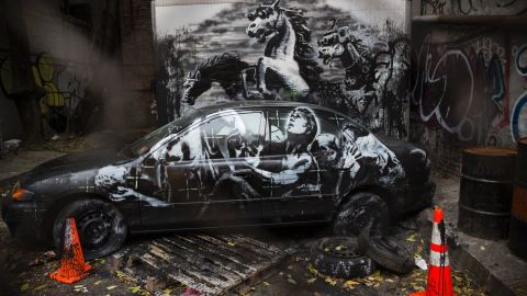 """This installation, seen in October 2013, on the Lower East Side of New York, depicts stampeding horses in night-vision goggles. Thought to be a commentary on the Iraq War, it also included <a href=""""http://banksy.co.uk/2013/10/09/lower-east-side"""" target=""""_blank"""" target=""""_blank"""">an audio soundtrack</a>."""