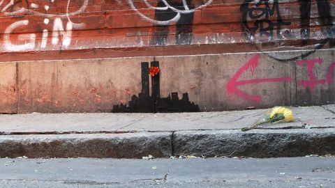 Graffiti depicting the Twin Towers popped up in the Tribeca neighborhood of New York in October 2013.