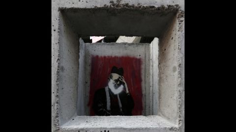 """Banksy's """"Concrete Confessional"""" is seen on the Lower East Side of Manhattan."""