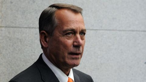 US House Speaker John Boehner walks to a meeting at Capitol Hill in Washington, DC, on October 16, 2013. Senate Majority Leader Harry Reid said Wednesday that a deal had been reached with Republican leaders to end a fiscal impasse that has threatened the United States with default. Reid, speaking from the Senate floor, said the agreement called for reopening the federal government with a temporary budget until January 15 and to extend US borrowing authority until February 7. AFP Photo/Jewel SamadJEWEL SAMAD/AFP/Getty Images