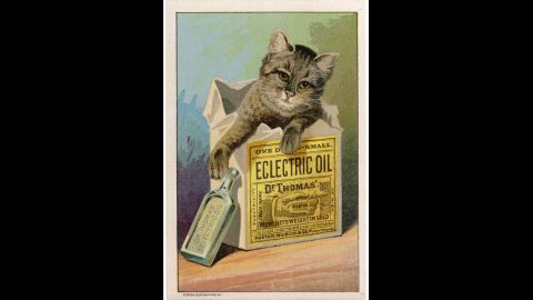 """<a href=""""http://ead.lib.virginia.edu/vivaxtf/view?docId=vt/viblbv00404.xml"""" target=""""_blank"""" target=""""_blank"""">Dr. Thomas' Eclectric Oil</a> was possibly the most over-achieving of all home remedies. It claimed to be able to cure anything from toothaches and earaches to lameness and deafness. And it only <a href=""""http://digital.lib.ecu.edu/20920"""" target=""""_blank"""" target=""""_blank"""">cost 50 cents a bottle</a>."""
