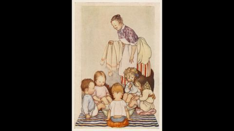 """In this 1920s book illustration, five sick kids sit with their feet in a tub of mustard and hot water. Caregivers used <a href=""""http://www.besthealthmag.ca/get-healthy/home-remedies/natural-home-remedies-colds-and-flu"""" target=""""_blank"""" target=""""_blank"""">mustard footbaths</a> to draw blood to the feet, which was said to help relieve congestion."""