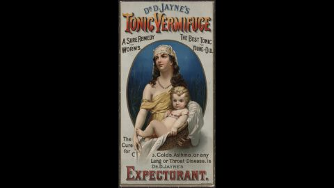 """<a href=""""http://digital.lib.ecu.edu/20662#details"""" target=""""_blank"""" target=""""_blank"""">Dr. D. Jayne's Expectorant</a> was sold in the late 1880s as a cure for coughs, colds and asthma, as well as a """"sure remedy for worms."""" The tonic concoction was also used to help indigestion."""