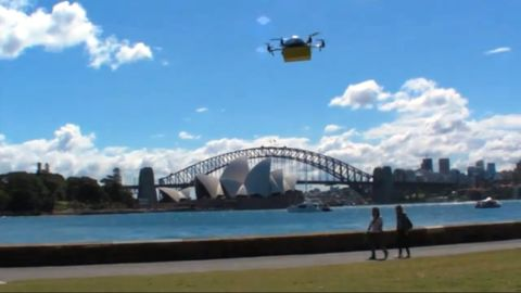 """<strong>Express delivery:</strong> Australian textbook rental service <a href=""""http://www.zookal.com/"""" target=""""_blank"""" target=""""_blank"""">Zookal</a> make good on UAV's (unmanned aerial vehicles) promise to provide lightning-speed personal deliveries. French postal service La Poste claimed to be launching a newspaper delivery drone service in April -- <a href=""""http://www.huffingtonpost.com/2013/04/02/drone-mail-delivering-france_n_2332639.html"""" target=""""_blank"""" target=""""_blank"""">only to reveal it as a hoax</a>. But Zookal looks to be the real deal, offering Sydney students the chance to have their textbooks dropped at any location."""