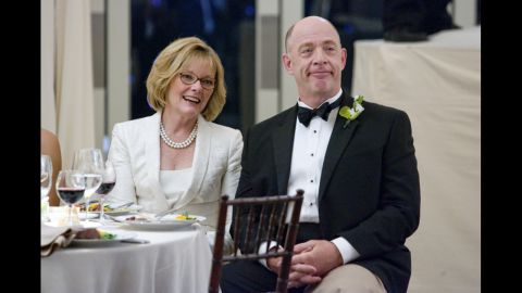 """J.K. Simmons, seen here with Jane Curtin in the film """"I Love You, Man,"""" has played all sorts of roles, including a white supremacist on """"Oz"""" and a therapist on """"Law & Order."""" Will he stay a character actor <a href=""""http://www.cnn.com/videos/entertainment/2015/02/23/raw-oscars-j-k-simmons-backstage-youtube.cnn"""">now that he has an Oscar for """"Whiplash""""</a>?"""