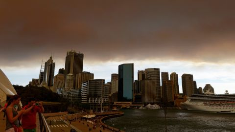 Smoke and ash from wildfires blanket the Sydney skyline on Thursday, October 17.