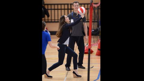 Catherine, Duchess of Cambridge, participates in a SportsAid Athlete Workshop in London on Friday, October 18. She showed up for the charity event in skinny jeans, a smart blazer and wedges. Click through to see more photos of her style through the years.