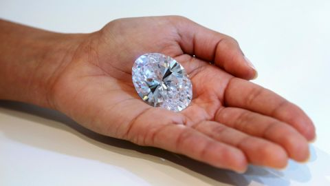 A 118-carat white diamond is on display at Sotheby's, a New York auction house. The oval stone was auctioned off in Hong Kong for a record $30.6 million.