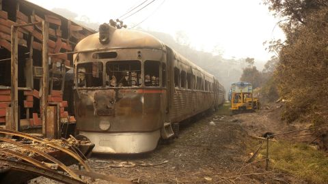 """In this photo provided by <a href=""""http://www.zigzagrailway.com.au/"""" target=""""_blank"""" target=""""_blank"""">Zig Zag Railway</a>, Rail Motor 2016 sits burnt out October 18 after the fires swept through the Australian heritage railway line near Lithgow."""