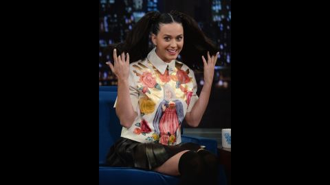 """Katy Perry visits """"Late Night With Jimmy Fallon"""" in 2013."""