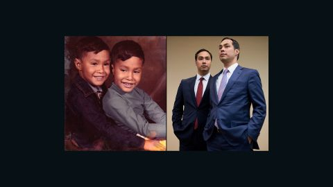 """San Antonio Mayor Julian Castro, right in both photos, is pictured here with his twin brother, U.S. Rep. Joaquin Castro, D-Texas. In high school, Julian Castro thought he might go into TV journalism, marketing or advertising.  At Stanford University, he """"ended up double-majoring in political science and communications and I chose to go to law school instead."""""""