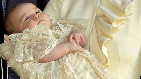 Prince George is seen after his christening at the Chapel Royal in St. James' Palace in London on Wednesday, October 23. The prince was christened Wednesday with water from the River Jordan at a rare four-generation gathering of the royal family in London.