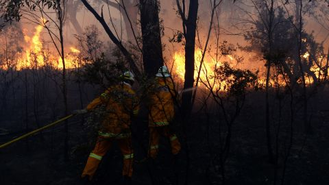 Firefighters battle flames in the Blue Mountains on October 24.