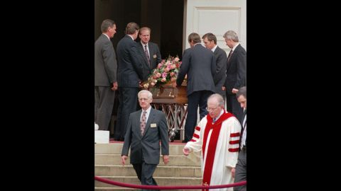 The body of JonBenet is carried out of the Peachtree Presbyterian Church in Atlanta on Tuesday, December 31, 1996.