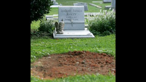 Patsy Ramsey died in Roswell, Georgia, at the age of 49 after a 13-year battle with ovarian cancer. Her unmarked grave is pictured in front of the grave site of her daughter on August 16, 2006, at the St. James Episcopal Church Cemetery in Marietta, Georgia.