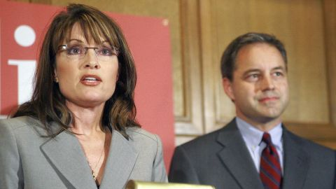 Palin stands beside then-Republican candidate for lieutenant governor Sean Parnell in September 2006 as they talk about their plan for a natural gas pipeline during a news conference in Anchorage, Alaska. Parnell became governor when Palin stepped down in 2009.
