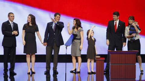 Members of vice presidential nominee Sarah Palin's family (left to right), son Track, daughter Bristol, son-in-law to be Levi Johnston, daughter Willow, daughter Piper, husband Todd and infant Trig, stand on stage following her speech to the Republican National Convention at the Xcel Energy Center in St. Paul, Minnesota, Wednesday, September 3, 2008. (Harry E. Walker/MCT)