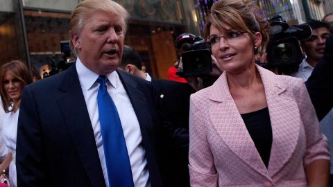Palin and Donald Trump walk toward a limo after leaving a dinner meeting in May 2011. It came during the Palin bus tour that fueled speculation she would run for president the next year. She didn't.
