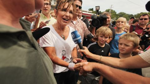 Palin was mobbed in August 2011 at the Iowa State Fair in Des Moines, a familiar campaign stop for presidential hopefuls.