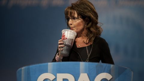 """Palin drinks a """"Big Gulp"""" soda during the Conservative Political Action Conference in March 2013. She was mocking New York Mayor Michael Bloomberg's push against large, sugary drinks."""