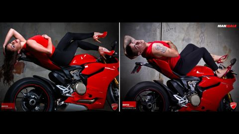 """Portland, Oregon, Ducati dealership MotoCorsa shot these """"girl on bike"""" images in 2012 to promote the Ducati 1199 Panigale. A few months later,  it re-created the shoot using male MotoCorsa employees in identical outfits. Click through the gallery to see who wore them better:"""