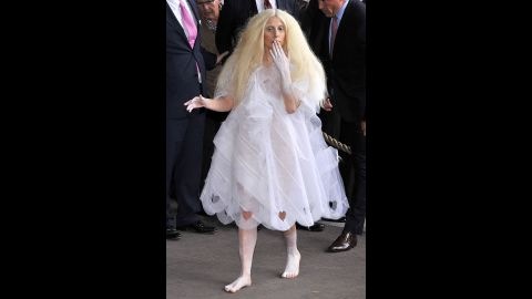 Lady Gaga went with an all-white look -- sans footwear -- while in Berlin on October 24, 2013.