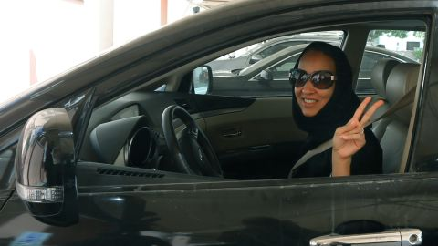 Saudi activist, Manal Al Sharif, drives her car in Dubai on October 22 in defiance of the authorities to campaign for women's rights to drive in Saudi Arabia.