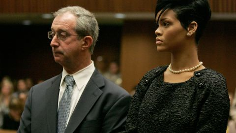 """<strong>June 2009: </strong>The judge asked Rihanna to appear in court to hear <a href=""""http://www.cnn.com/2009/SHOWBIZ/Music/06/22/chris.brown.hearing/index.html"""">details of the order requiring Brown to stay 50 yards away from her</a> -- 10 yards if the two appeared at the same industry event together. Here she appears with her attorney, Donald Etra."""