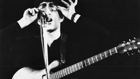 Reed performs live on stage in Amsterdam, in April 1977.