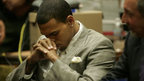 """<strong>June 2009: </strong><a href=""""http://www.cnn.com/2009/SHOWBIZ/Music/06/22/chris.brown.hearing/index.html"""">Brown agreed to plead guilty to a felony assault charge</a> in the Rihanna beating at a June 22 hearing. The plea deal included five years' probation, 1,400 hours of """"labor-oriented service"""" and a yearlong domestic-violence counseling program."""